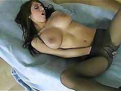 Big Boobs, Brunette, Lingerie, Masturbation, Stockings